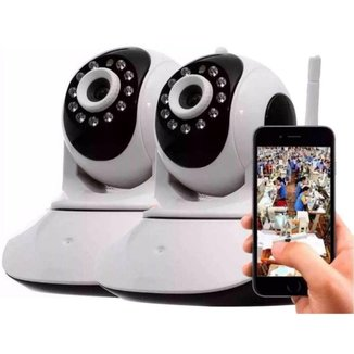 Kit 2 Câmera Segurança Wifi Hd Wireless P2p Ptz 1.3mp Visão Noturna Dia E Noite Áudio Viva Voz