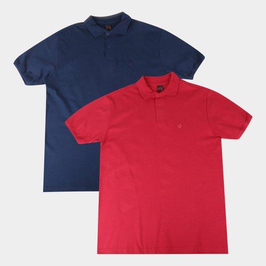 Kit 2 Camisas Polo Básicos Lisa Masculina - Azul+Rosa