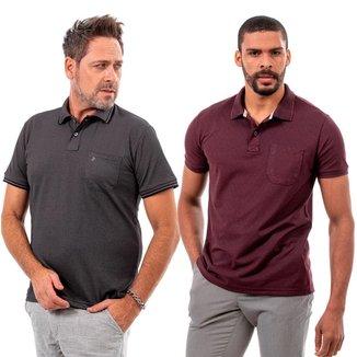 Kit 2 Camisas Polo John Pull Masculina Bolso Algodão Casual