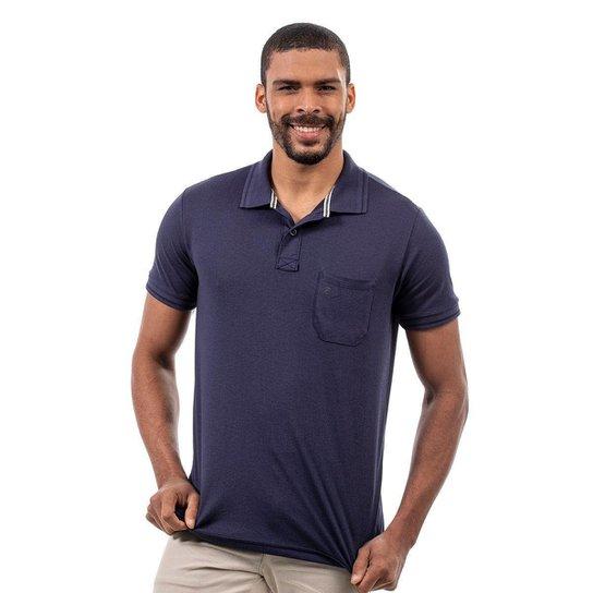 Kit 2 Camisas Polo John Pull Masculina Bolso Algodão Casual - Azul