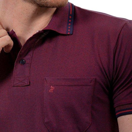Kit 2 Camisas Polo John Pull Masculina Bolso Algodão Casual - Vinho