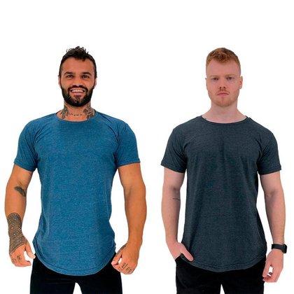 Kit 2 Camiseta Longline MXD Conceito Slim Cores Básicas e Mescladas Lisas