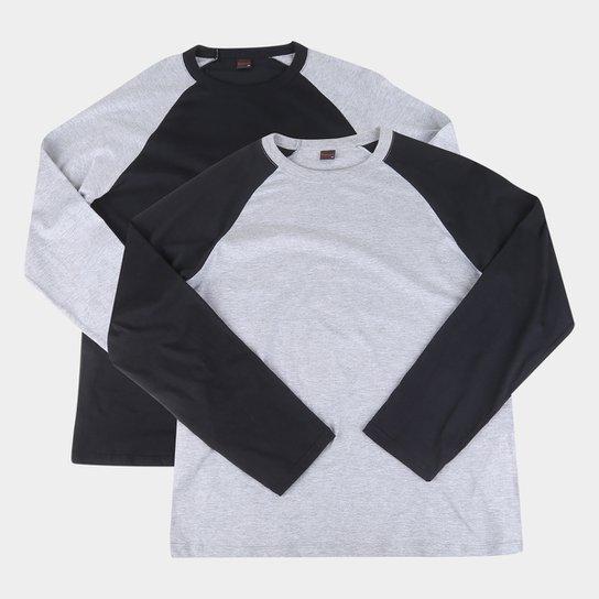 Kit 2 Camisetas Manga Longa Básicos Raglan Masculina - Preto+Cinza