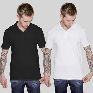 Kit 2 Camisetas Polo Preto e Branco Versatti Nicaragua A20 G