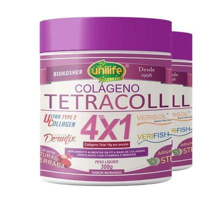 Kit 2 Colágeno 4 em 1 Tetracoll Unilife 300g Morango