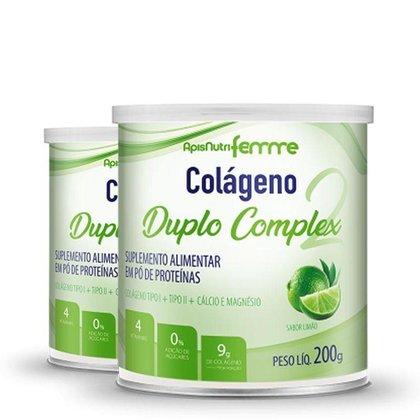 Kit 2 Colágeno Duplo Complex Tipo 2 + Tipo 1 Apisnutri 200g Limão