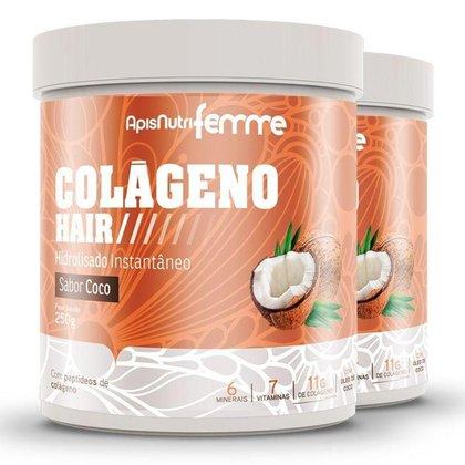 Kit 2 Colágeno Hair Apisnutri Femme Coco 250g
