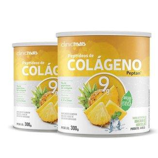 Kit 2 Colágeno Hidrolisado Peptan 9g Clinic Mais Abacaxi com Hortelã