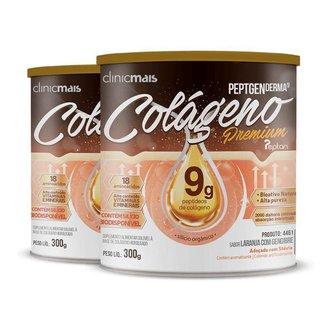 Kit 2 Colágeno Hidrolisado Premium 9g Clinic Mais 300g Laranja com Gengibre