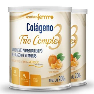 Kit 2 Colágeno Trio Complex Apisnutri Tangerina 200g