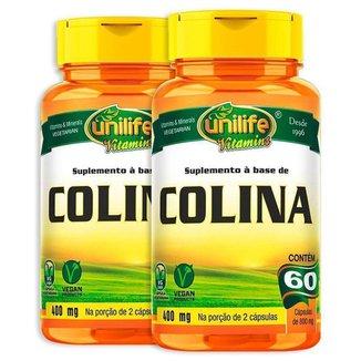 Kit 2 Colina Vitamina B8 Unilife 60 cápsulas