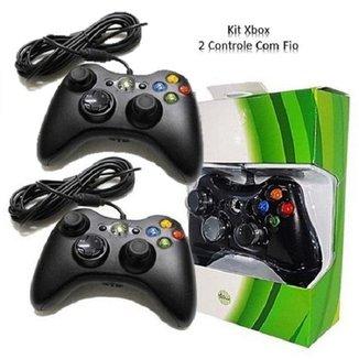 Kit 2 Controle Com Fio Xbox 360 E Pc Slim Joystick
