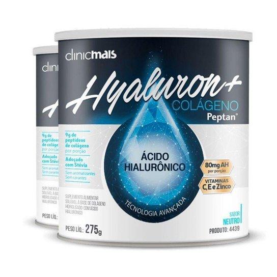 Kit 2 Hyaluron+ Colágeno com Ácido Hialurônico ClinicMAIS 275g -