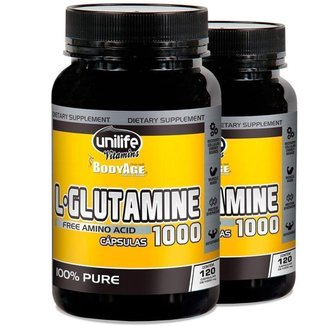Kit 2 L-Glutamina 100% pura 120 cápsulas Unilife