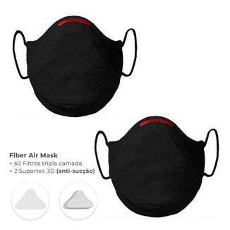 Kit 2 Mascaras Air Fiber Knit - Preto + 60 Filtros Tripla Camada + 2 Suportes 3d