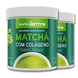 Kit 2 Matchá Solúvel Apisnutri Sabor Natural 200g