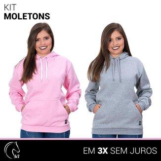 Kit 2 Moletom Femininos Blusa de Frio Canguru e Cinza