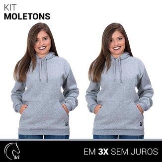 Kit 2 Moletom Femininos Blusa de Frio Canguru