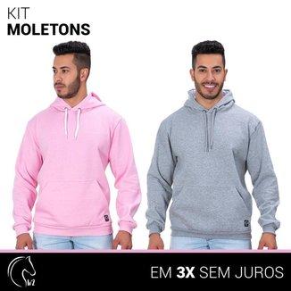 Kit 2 Moletom Masculinos Blusa de Frio Canguru e Cinza
