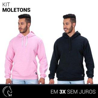 Kit 2 Moletom Masculinos Blusa de Frio Canguru Rosa e