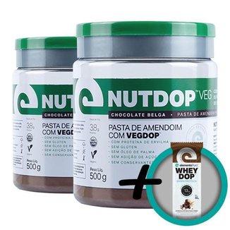 Kit 2 Nutdop Pasta de Amendoim Vegana Chocolate Belga Elemento Puro 500g + Bônus