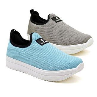 Kit 2 Pares Tênis Sneaker Feminino Flatform Meia Conforto