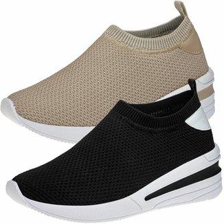 Kit 2 Pares Tênis Sneaker GiGiL Calce Fácil Feminino