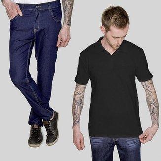 Kit 2 peças Camisa Polo Preta e Calça Jeans A20 Irlanda 42