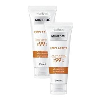 Kit 2 Protetores Solar Neostrata Minesol Corpo e Rosto Antioxidante FPS 99 200mL