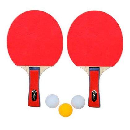 Kit 2 Raquetes para Ping Pong 3 Bolinhas Art Sport