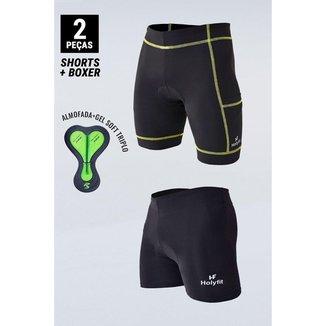 Kit 2 Shorts Para Ciclismo Preto Com Espuma + Gel D80