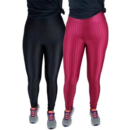 kit 2 unidades Legging Feminina Calça Leg Poliamida 3d Legue Grossa Linda ROSAAZULGG