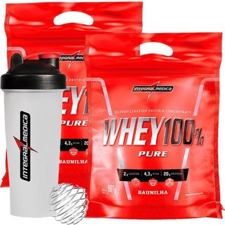 Kit 2 Whey 100% Pure  907G Refil +  Coqueteleira 600ml Integralmédica