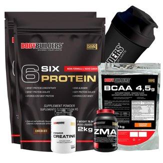 Kit 2 x Whey Protein - 6 Six Protein - Refil 2 Kg + BCAA 1kg + Creatina 100gr + ZMA 120 caps + Coqu
