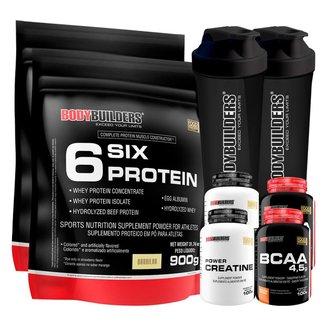 Kit 2 x Whey Protein - 6 Six Protein - Refil 900gr + 2x BCAA 100g + 2x Creatina 100g + Coque