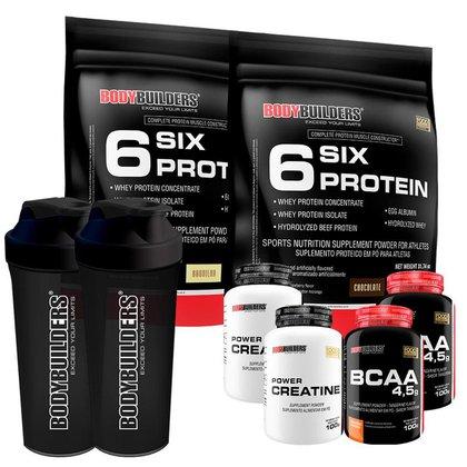Kit 2 x Whey Protein - 6 Six Protein Refil 900gr+2x BCAA 100g+2xCreatina 100g+Coque