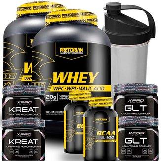 Kit 2x 100% Whey Protein Isolado + WPC - Pretorian + 2x BCAA + 2x Creatina + 2x Glutamina + Shaker