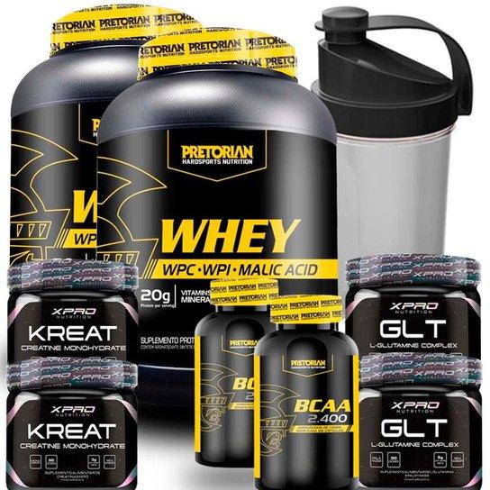 Kit 2x 100% Whey Protein Isolado + WPC - Pretorian + 2x BCAA + 2x Creatina + 2x Glutamina + Shaker -