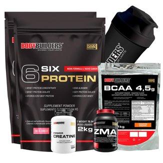 Kit 2x 6 Six Protein 2kg + BCAA 1kg + Creatiana + ZMA + Coqueteleira Bodybuilders