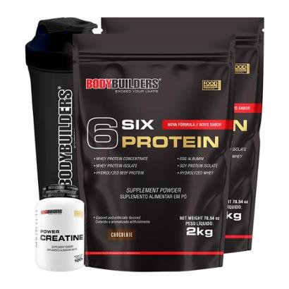 Kit 2x 6 Six Protein 2kg Chocolate + 100% Creatine 100g + Coqueteleira Bodybuilders - Unissex