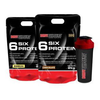 Kit 2x 6 Six Protein 2kg + Coqueteleira Bodybuilders