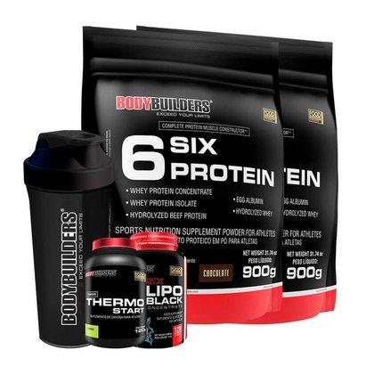 KIT 2x 6 Six Protein 900g 1x Thermo Start + 1x 6 Six Lipo Black +1x Coqueteleira-Bodybuilders