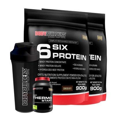 KIT 2x 6 Six Protein 900g + 1x Thermo Start Limão + 1x Coqueteleira - Bodybuilders