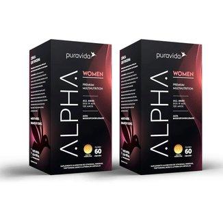 Kit 2x Alpha Women Multivitamínico Premium, 60caps, Puravida