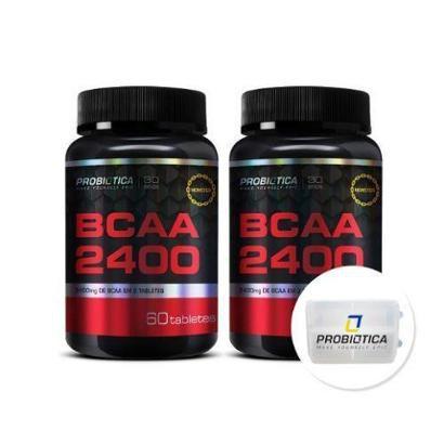 Kit 2x BCAA 2400 – 60 Tabletes + Porta Cáps – Probiótica
