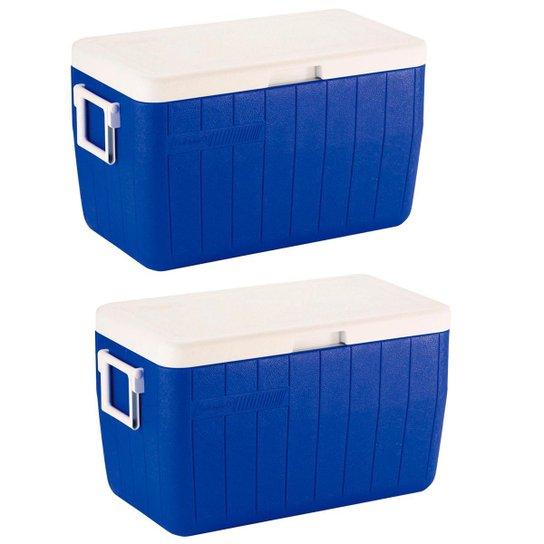 Kit 2X Caixa Térmica 48 Qt Tampa Articulada 45,4 Litros - Azul