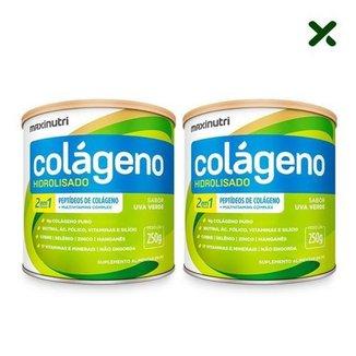 Kit 2x Colágeno Hidrolisado 2 Em 1 Potes 250g em Pó Uva Verde Maxinutri
