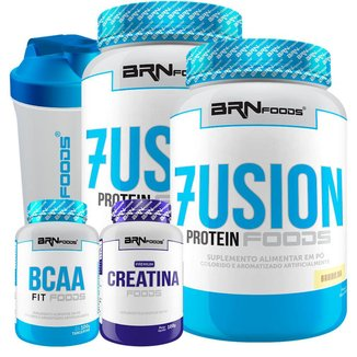 Kit 2x Fusion Protein 900g  + BCAA 100g + Creatina 100g + Coqueteleira - BRNFOODS