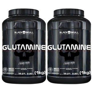 Kit 2X Glutamine - Sem Sabor 1000g - Black Skull