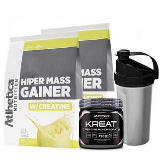 Kit 2x Hipercalórico Hiper Mass Gainer 3Kg + Creatina 150g + Coqueteleira - Atlhetica Nutrition